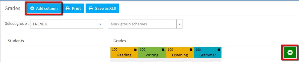 Add column to grade system