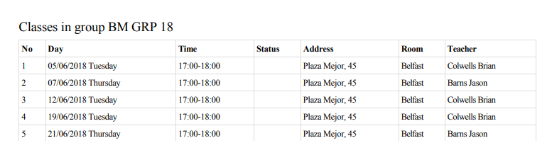 Schedule of Lessons planned