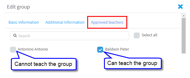 Approved teachers
