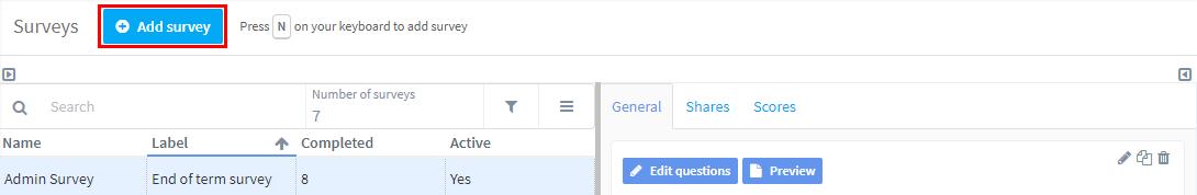 click add survey