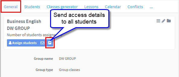 send access details to all students