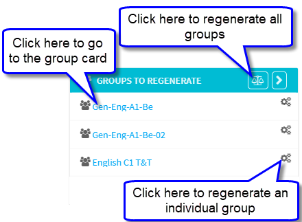 Groups to Regenerate on main page