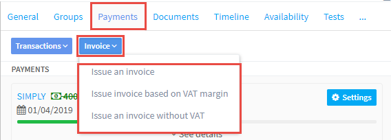 Creating the invoice on the Student's Payment Card